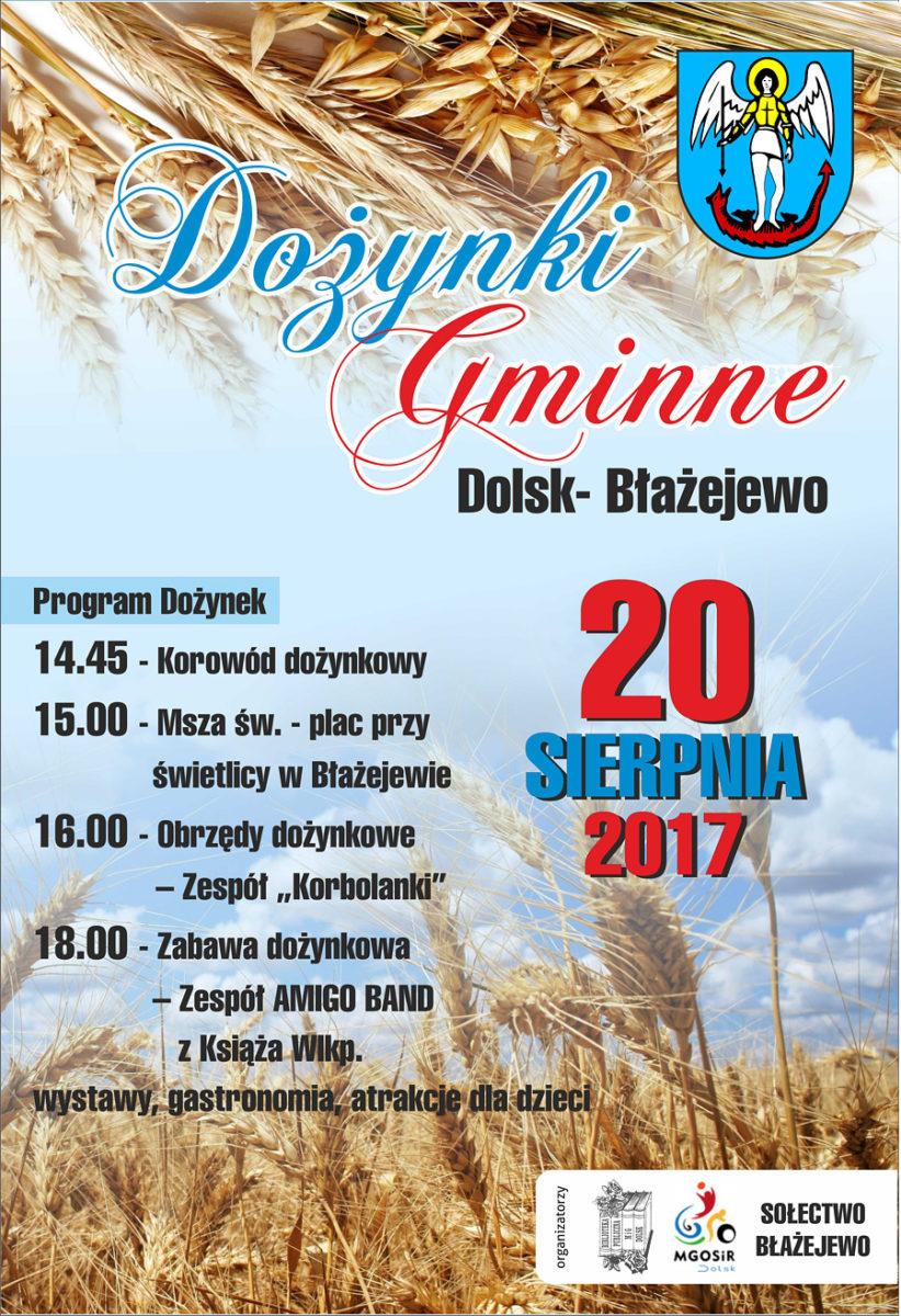 Dożynki Gminne Dolsk - Błażejewo 2017 plakat