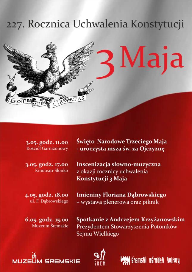 227. Rocznica Uchwalenia Konstytucji 3 Maja - plan obchodów