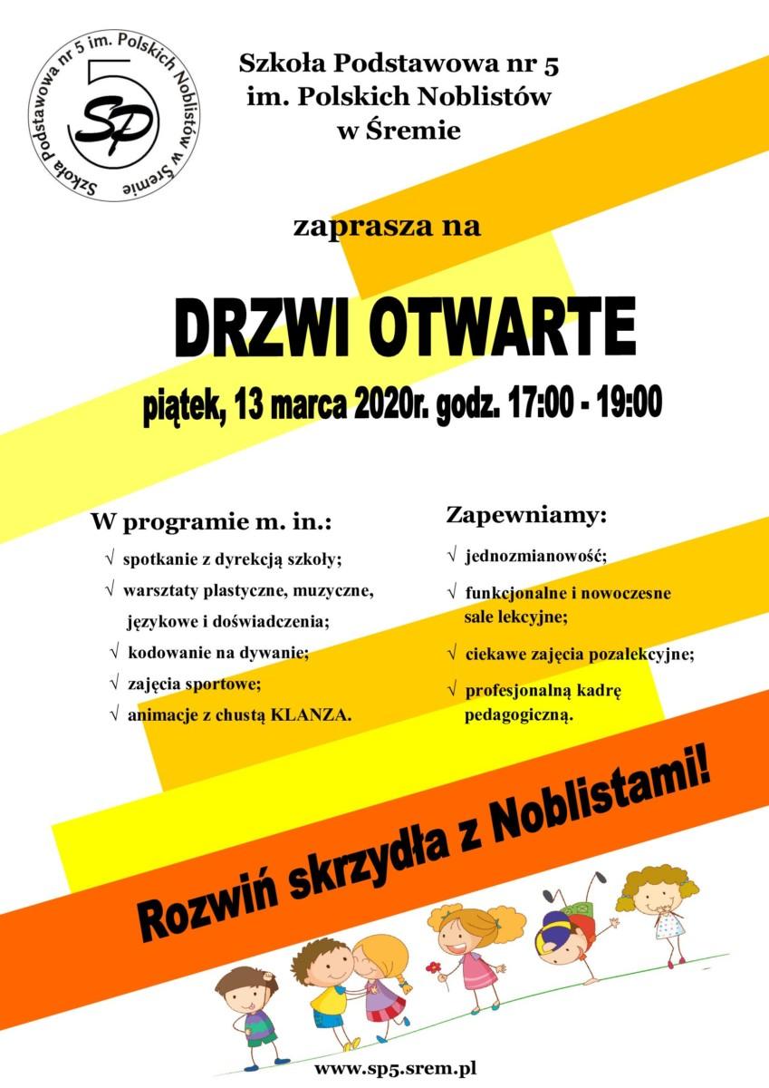 Szkoła Podstawowa nr 5 im. Polskich Noblistów w Śremie zaprasza na Drzwi Otwarte