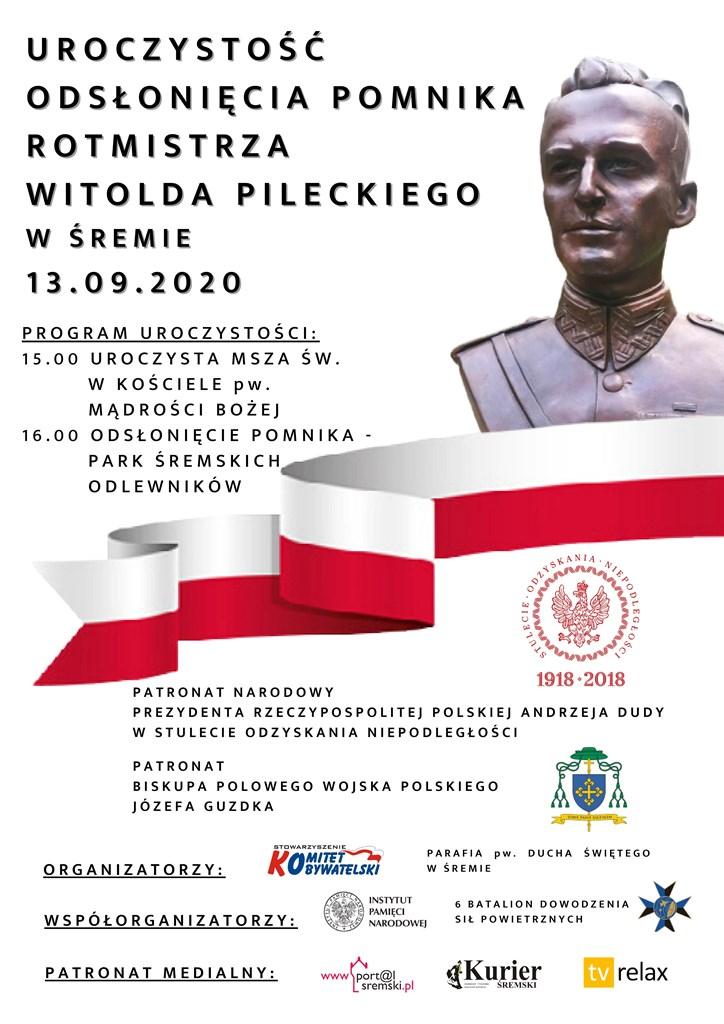 Odsłonięcie pomnika rotmistrza Witolda Pileckiego w Parku Śremskich Odlewników