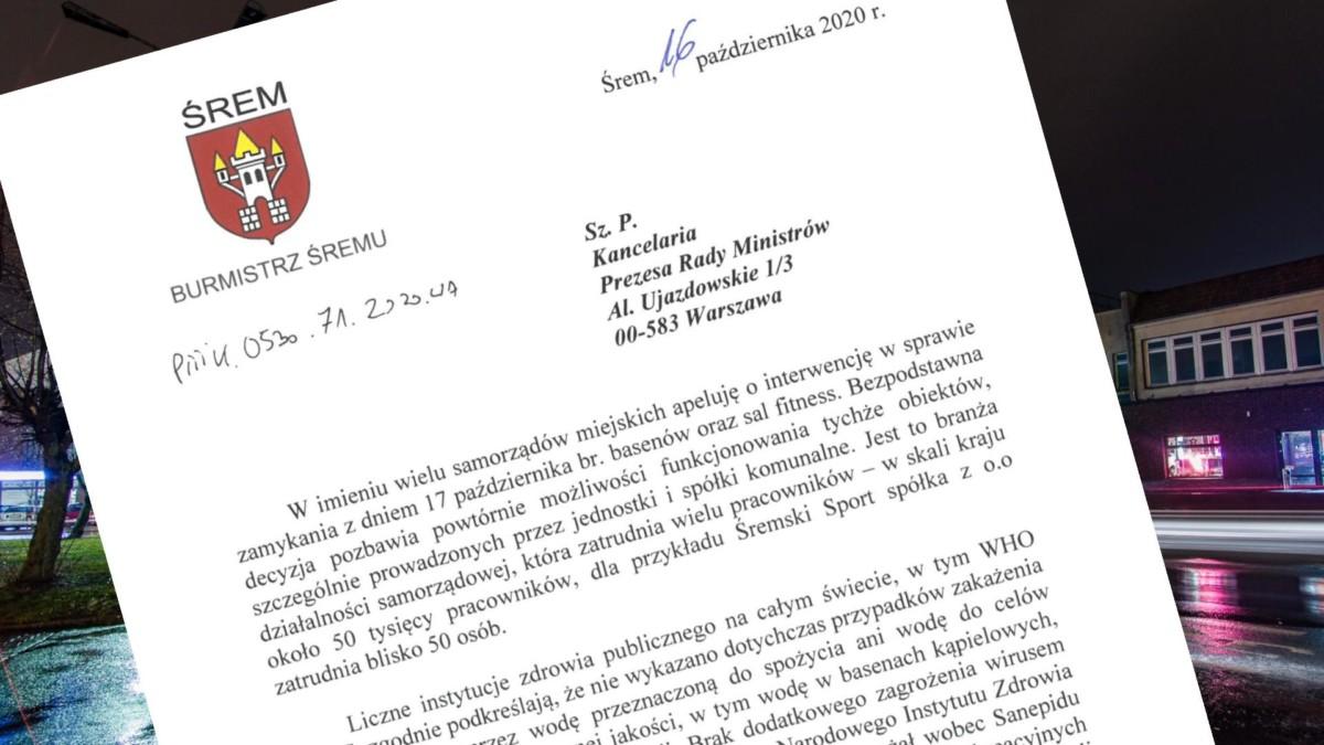 Pismo Burmistrza Śremu do premiera RP ws. uruchomienia basenu i obiektów sportowych